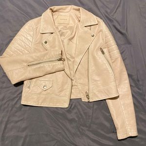 Blank NYC Faux Leather Motto Jacket - Blush Pink